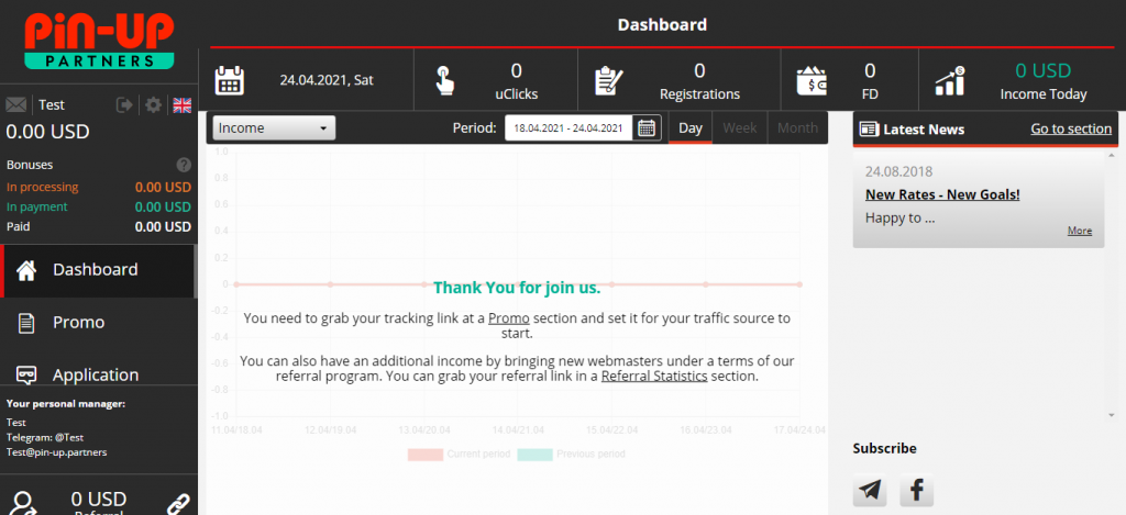 Pin-Up Partners Dashboard